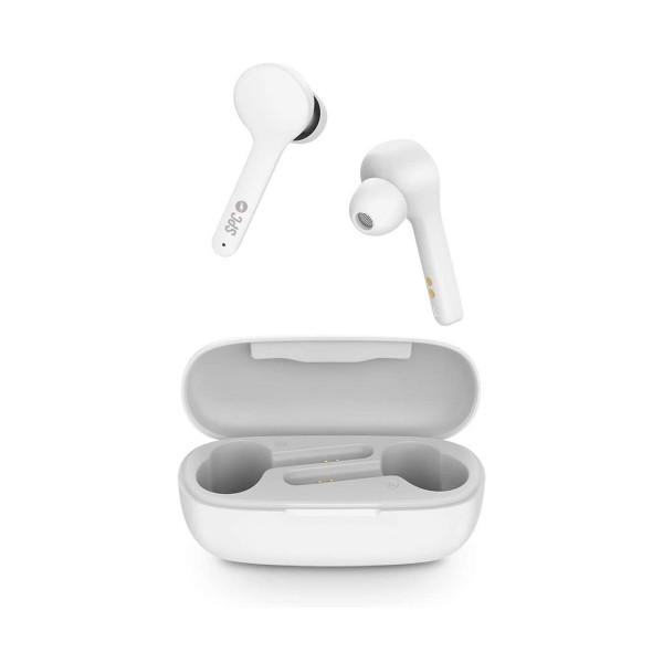 Spc zion air pure blanco auriculares inalámbricos bluetooth diseño tipo botón con estuche de carga