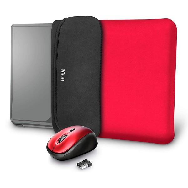 Trust yvo funda reversible rojo negro para portátil 15.6'' + ratón inalámbrico rojo negro
